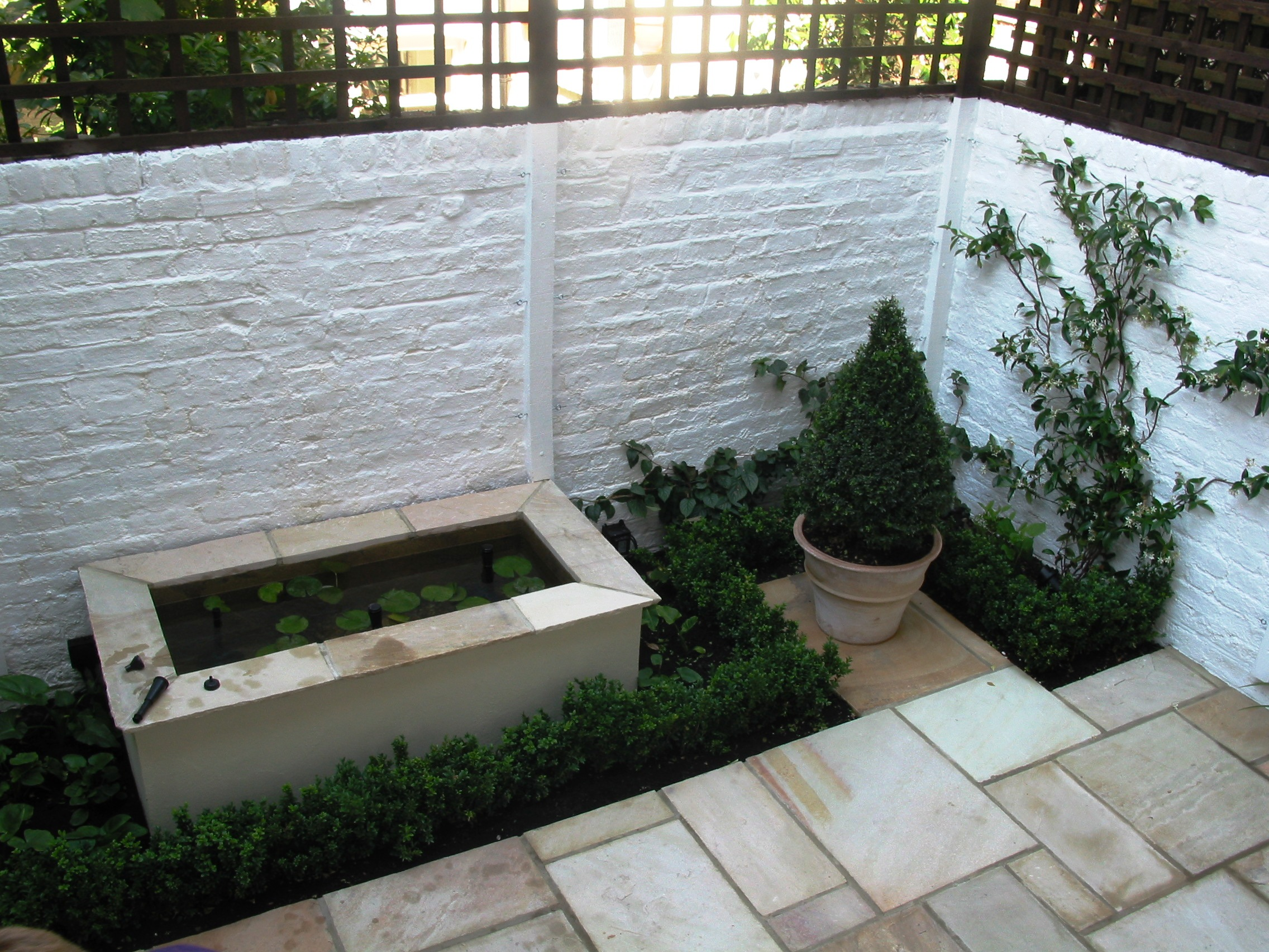 courtyard garden with copper rill water feature courtyard garden with ...