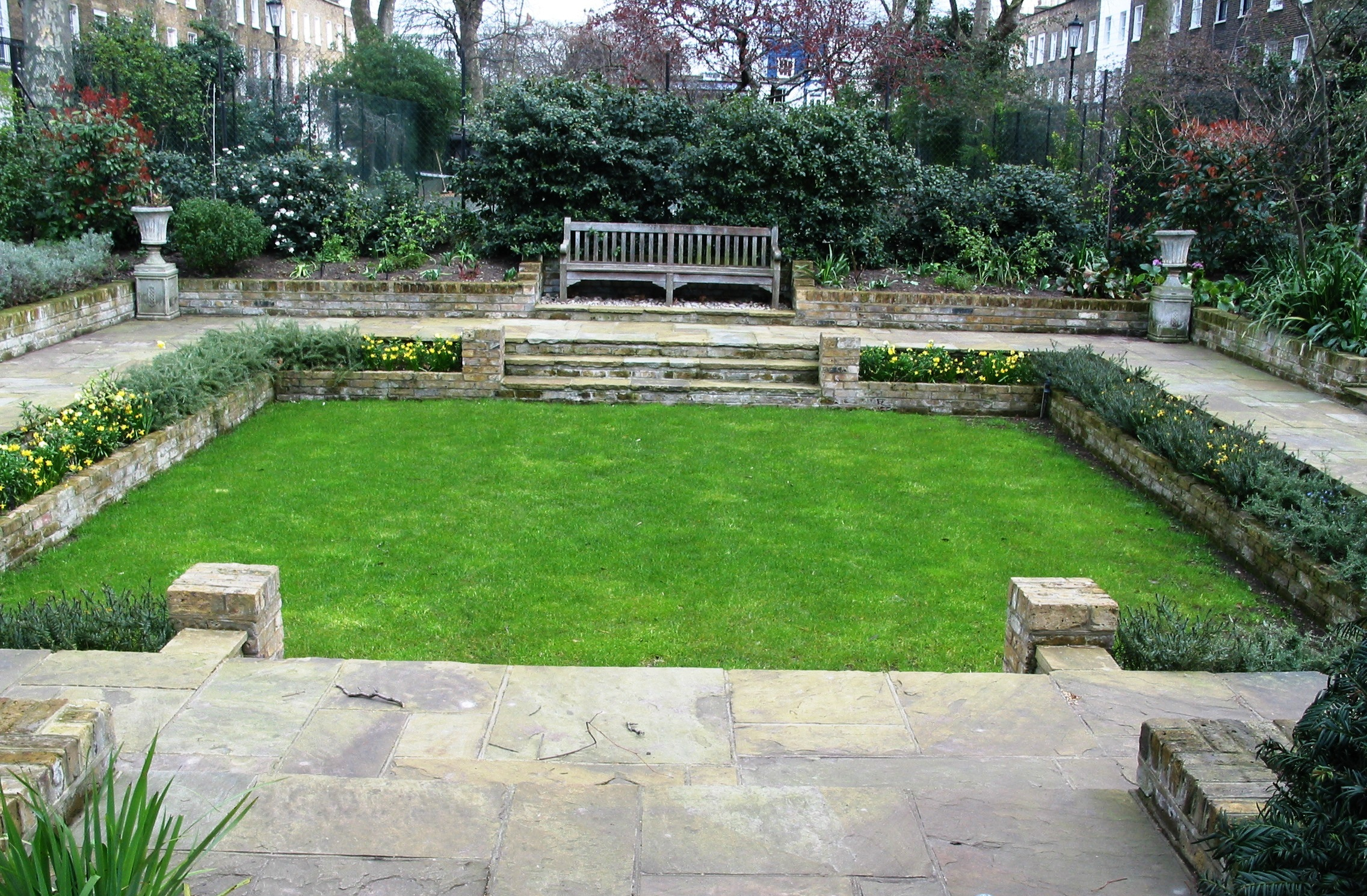 Sunken garden with reclaimed yorkstone and lawn simon for Gardening and landscaping